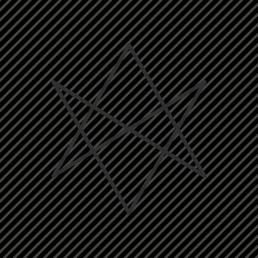 hexagram, six pointed star, star, unicursal hexagram icon