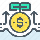 arrow, bank, banking, business, coin, investment, money icon