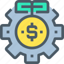 banking, coin, gear, investment, money, process icon