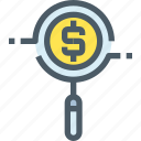 banking, business, coin, investment, money, research, search icon