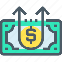 arrow, banking, coin, growth, investment, money, up icon
