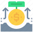arrow, bank, coin, investment, money icon