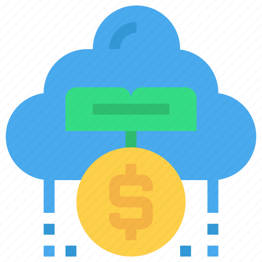 bank, cloud, coin, fund, investment, money icon