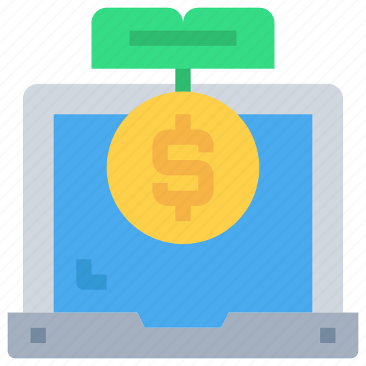 bank, coin, computer, investment, laptop, money icon