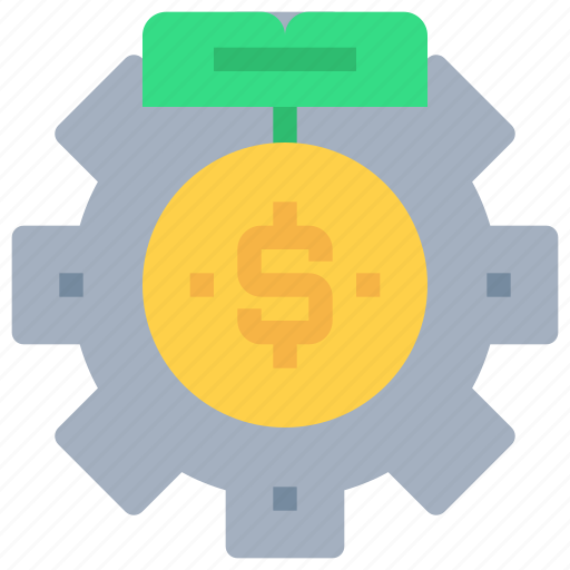 bank, coin, gear, investment, money, process icon