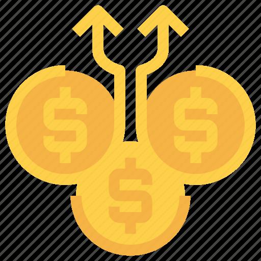 arrow, bank, coin, exchange, investment, money icon