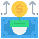 arrow, bank, coin, growth, investment, money, up icon