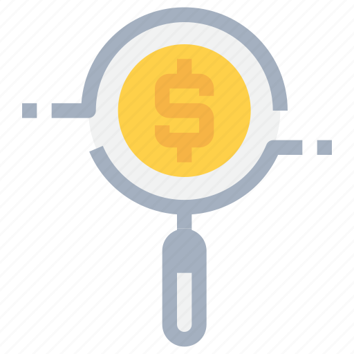bank, business, coin, money, research, search icon
