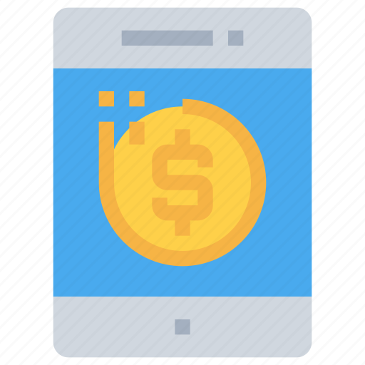 bank, coin, investment, mobile, money, saving, smartphone icon