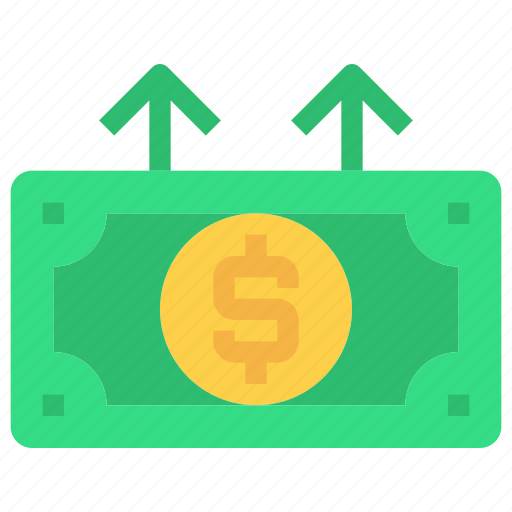 bank, coin, growth, investment, money, up icon
