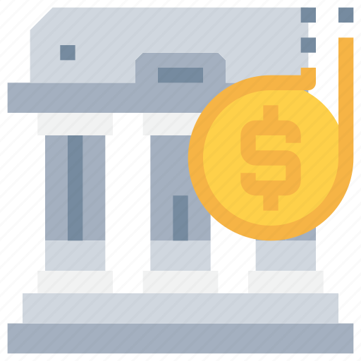 bank, build, building, coin, investment, money, saving icon