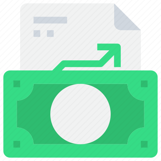 arrow, bank, business, file, growth, investment, money icon