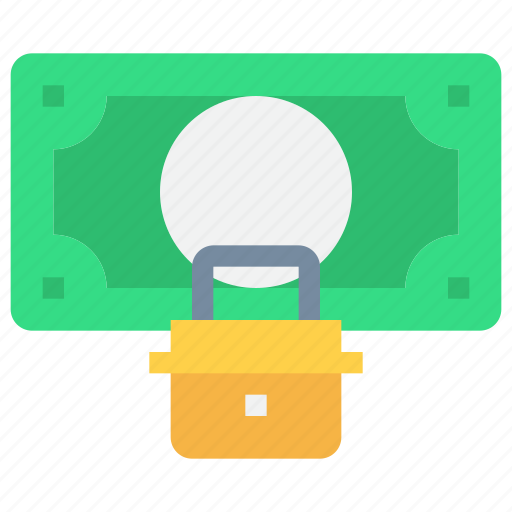 bank, business, money, padlock, secure, security icon