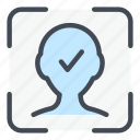 scan, face, id, recognition, check, tick, scanning