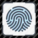 scan, scanning, finger, print, fingerprint, touch, recognition icon