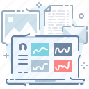 account, analytics, dashboard, desktop, laptop, profile, statistics icon