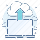 backup, cloud, computer, copy, export, laptop, upload icon