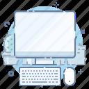 computer, desktop, keyboard, mouse, screen, workplace, workspace icon