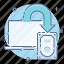 backup, copy, data, laptop icon