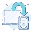 backup, copy, data, laptop icon