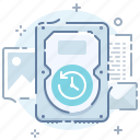 backup, data, drive, files, hard, save, time icon