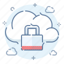 cloud, data, lock, password, protection, safe, server icon