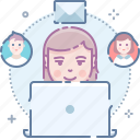 contacts, friends, messages, social, team, work, workplace icon