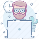 beard, computer, guy, laptop, man, workplace, workspace icon