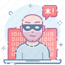 alert, computer, hacker, laptop, privacy, threat, vulnerable icon