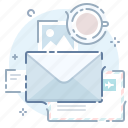 email, files, message, table, workplace icon