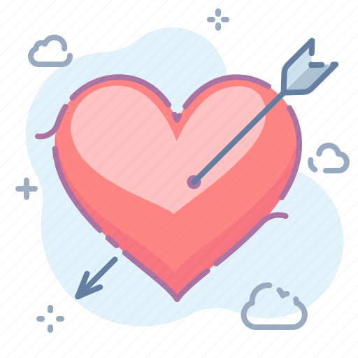arrow, heart, valentine icon
