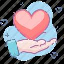 care, hand, love icon