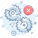 alert, error, gears, process icon
