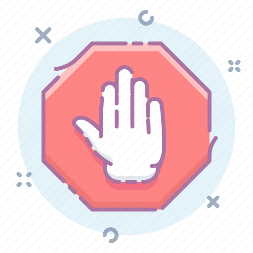 alert, hand, sign, stop icon