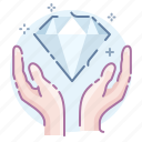 diamond, hands, present