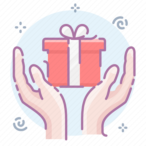 box, gift, hands, present icon