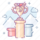 cup, pedestal, rewarding, winner icon