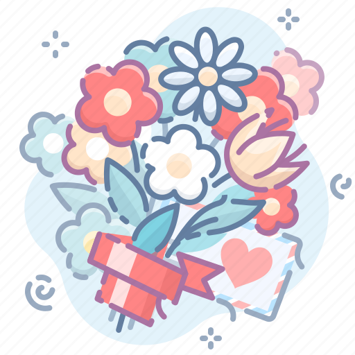 bouquet, flowers, love icon