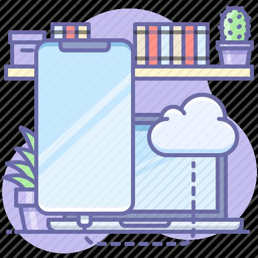 cloud, phone, sync icon
