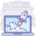 laptop, launch, rocket, startup icon