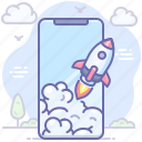 launch, mobile, rocket, smartphone, startup icon