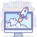 computer, launch, rocket, startup icon