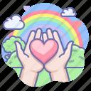 care, heart, love, valentine icon