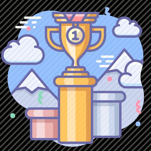 cup, pedestal, rewarding icon