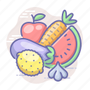 fruits, vegetables, vitamins icon