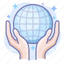 care, globe, hands icon