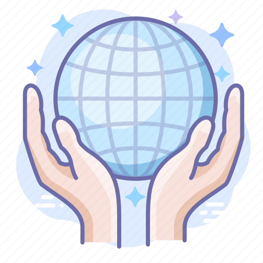 care, globe, hands icon