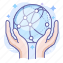 care, hands, network icon