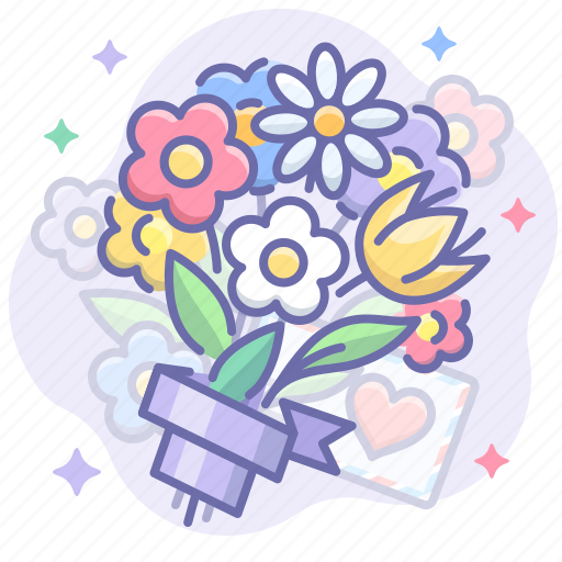 bouquet, flowers, love icon