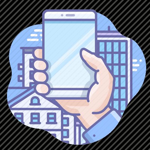 Hold, smartphone, hand icon